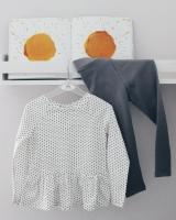 Набор туника с сердечками + леггинсы (белые, серые)