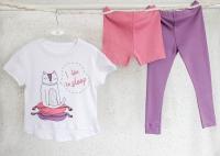 """Пижама """"I like to sleep"""" футболка+брючки (белый, розовый)"""