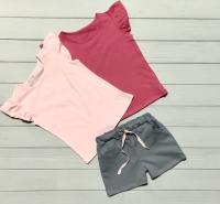 Шорты серые (розовый шнурок)