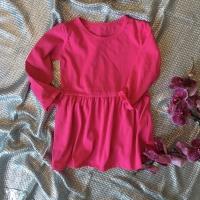 Платье с баской (малиновое)