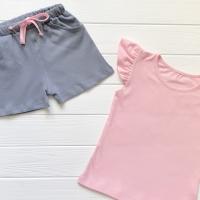 Шорты серые с розовым шнурком