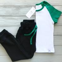 Брюки спортивные черные (зеленый шнурок)