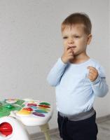Топ с длинным рукавом и карманом (голубой)