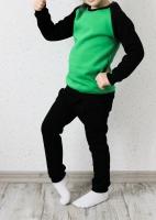 Спортивный костюм с начесом (черный, зеленый)