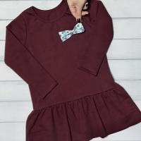 Платье с баской (бордовое)